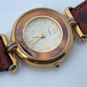 Vintage Fossil Watch Brown Leather Band Gold Tone